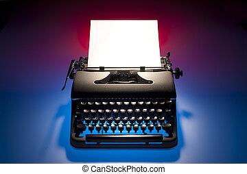 vindima, papel, máquina escrever