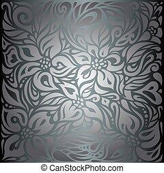 vindima, papel parede, fundo, floral, brilhante, prata
