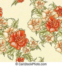 vindima, papel parede, seamless, roses., padrão, laranja
