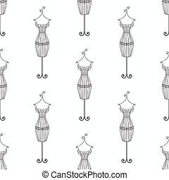 vindima, pattern., seamless, ilustração, mão, mannequin, ferro, doodle, desenhado