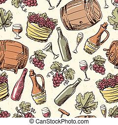 vindima, pattern., seamless, mão, desenhado, vinho