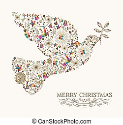 vindima, paz, saudação, pomba, cartão natal