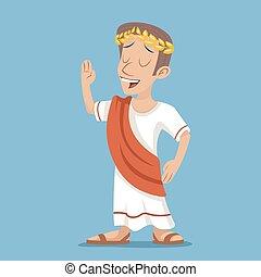 vindima, personagem, ilustração, grego, romana, vetorial, desenho, retro, fundo, homem negócios, elegante, caricatura, ícone