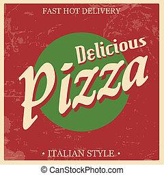 vindima, pizza, retro, cartaz