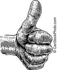 vindima, polegares, retro, sinal mão, cima, woodcut