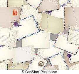 vindima, postais, seamless, padrão