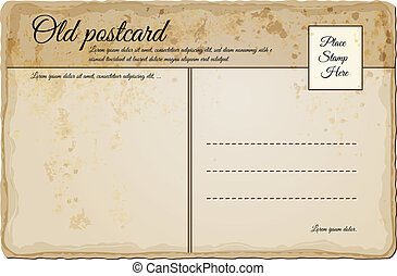 vindima, poste, antigas, cartão