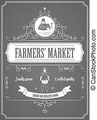 vindima, poster., mercado, anúncio, agricultores