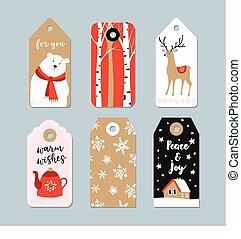 vindima, presente natal, etiquetas, set., mão, desenhado, etiquetas, com, árvores vidoeiro, veado, urso polar, e, chá, pot., isolado, vetorial, ilustração, objects.