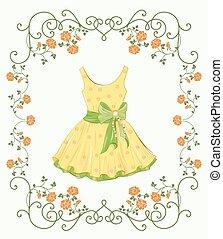 vindima, quadro, amarela, etiqueta, vestido floral