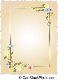vindima, quadro, flores