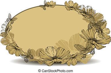 vindima, quadro, ilustração, vetorial, butterflies., oval, flores