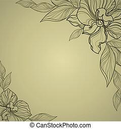 vindima, quadro, vetorial, flores