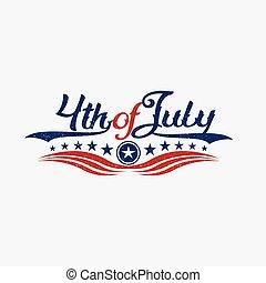 vindima, quarto julho, dia independência, logo., vetorial, gráfico, ilustração
