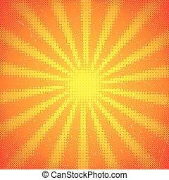 vindima, raios sol, cartão, halftone
