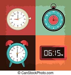 vindima, relógio, tempo, desenho