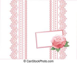 vindima, renda, presente, cor-de-rosa levantou-se