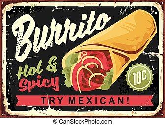 vindima, restaurante, burrito, sinal