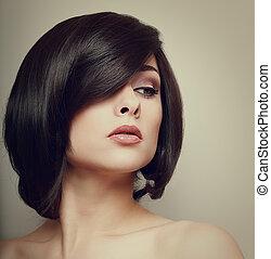 vindima, retrato, de, bonito, woman., cabelo, style., maquilagem