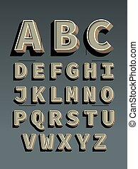 vindima, retro, font., alfabeto