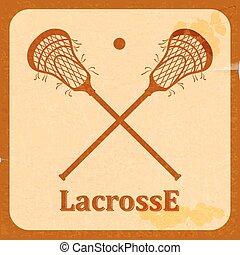 vindima, retro, fundo, lacrosse.