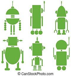 vindima, retro, robôs, 2, jogo, de, 6, um, i