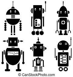 vindima, retro, robôs, 2, jogo, de, 6, um