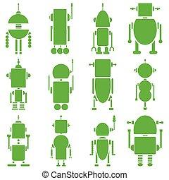 vindima, retro, robôs, 2, planície, em, gre