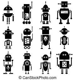 vindima, retro, robôs, 2