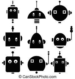 vindima, retro, robôs, cabeças, 2, ícones
