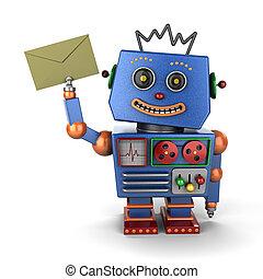 vindima, robô brinquedo, com, envelope