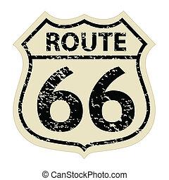 vindima, rota 66, ilustração, sinal
