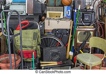 vindima, rummage, pilha, área armazenamento, confusão