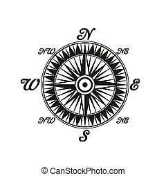 vindima, símbolo, compasso, mundo, monocromático, lados