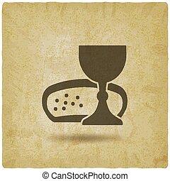 vindima, símbolo, comunhão, fundo, vinho, pão