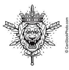 vindima, símbolo, crown., cabeça, leão