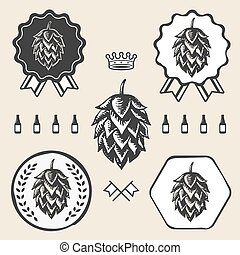 vindima, símbolo, etiqueta, sinal, cerveja, arte, pulo, elemento