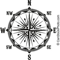 vindima, símbolo, vetorial, navegação, compasso