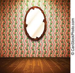 vindima, sala, com, espelho, e, floral, papel parede