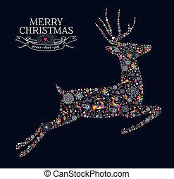 vindima, saudação, rena, feliz natal, cartão