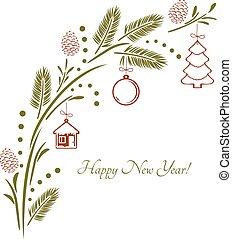 vindima, saudação, toys., desenho, asseado, ramo, cartão natal