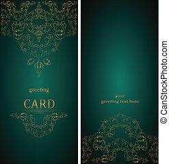 vindima, saudação, vitoriano, vetorial, cartões, style.
