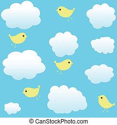 vindima, seamless, fundo, pássaros