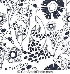 vindima, seamless, mão, padrão, floral, desenhado, flores