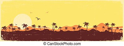 vindima, silueta, palmas, ilha, textura, tropicais, papel, fundo, paraisos , antigas