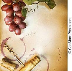 vindima, sobre, papel, desenho, fundo, borda, vinho