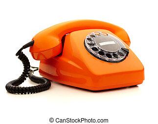 vindima, sobre, telefone, fundo, laranja, branca