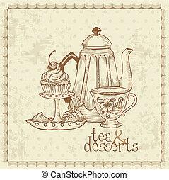 vindima, -, sobremesas, vetorial, menu, chá, cartão
