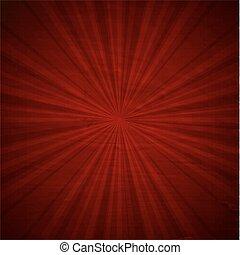 vindima, sunburst, vermelho, cartaz