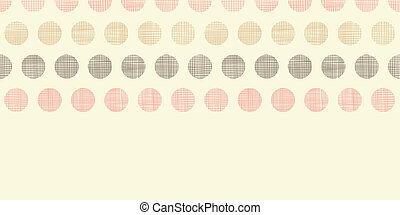 vindima, têxtil, pontos polka, horizontais, borda, seamless, padrão, fundo